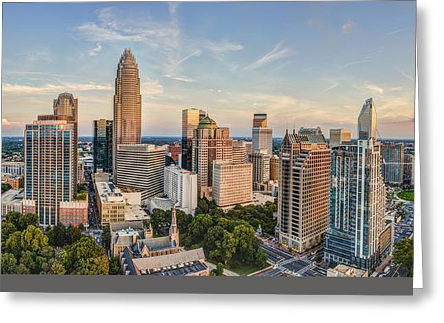 Charlotte Greeting Cards - Queen City Pano Greeting Card by Chris Austin