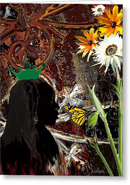 African-americans Greeting Cards - Queen Greeting Card by Delvon