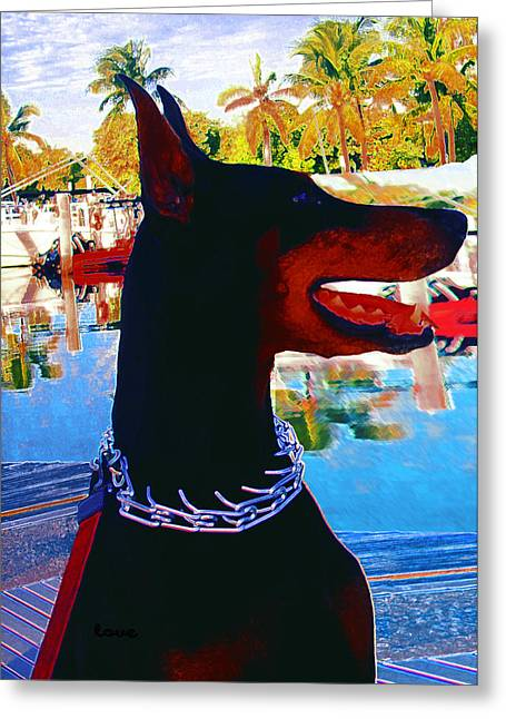 Dogs Digital Greeting Cards - Queen Doberman Mia Greeting Card by Miss Pet Sitter Maria