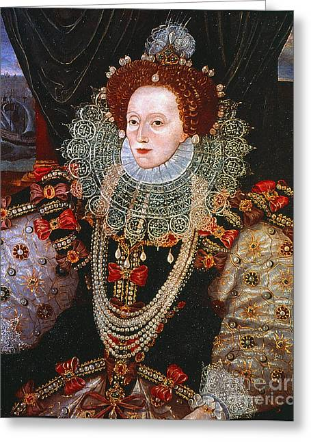 Royal Art Greeting Cards - QUEEN ELIZABETH I, c1588 Greeting Card by Granger