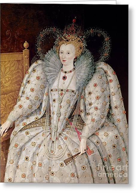Necklace Greeting Cards - Queen Elizabeth I of England and Ireland Greeting Card by Anonymous