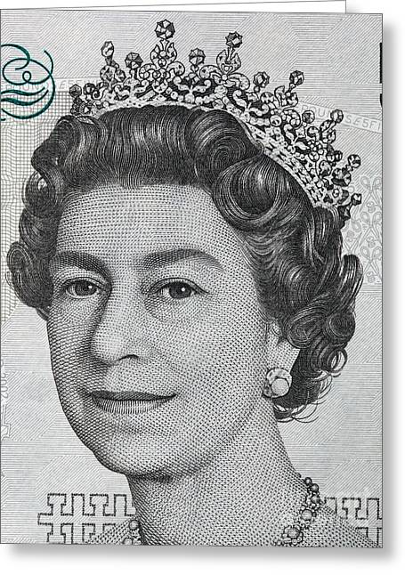 Gbp Greeting Cards - Queen Elizabeth II portrait on 5 pound sterling banknote Greeting Card by Michal Bednarek