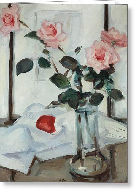Rose Petals Greeting Cards - Queen Elizabeth Roses Greeting Card by Samuel John Peploe