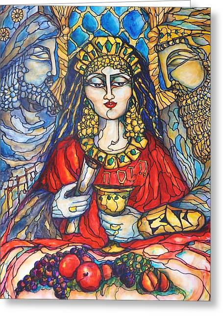 Purim Paintings Greeting Cards - Queen Esther Greeting Card by Rae Chichilnitsky