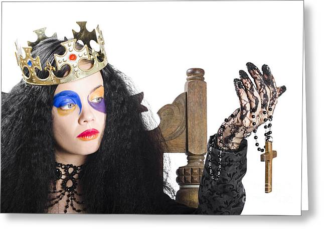 Queen Holding Cross Necklace Greeting Card by Jorgo Photography - Wall Art Gallery