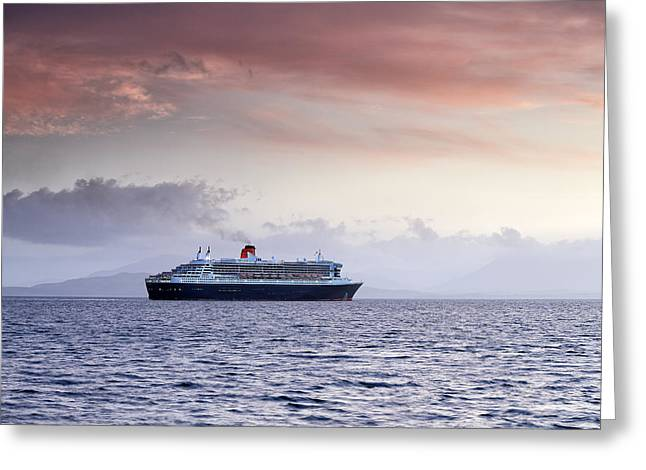 Boat Cruise Greeting Cards - Queen Mary 2 Greeting Card by Grant Glendinning