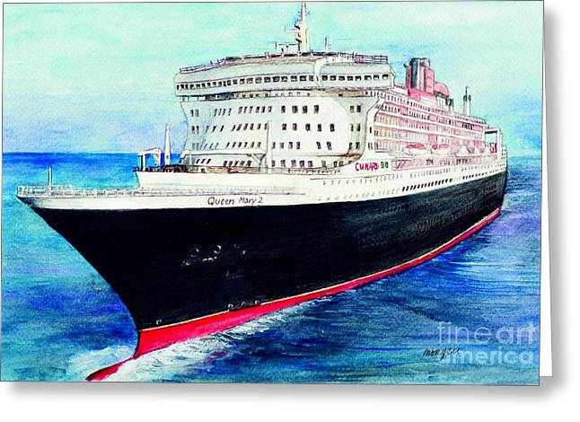 Mary Mixed Media Greeting Cards - Queen Mary 2 Greeting Card by Morgan Fitzsimons