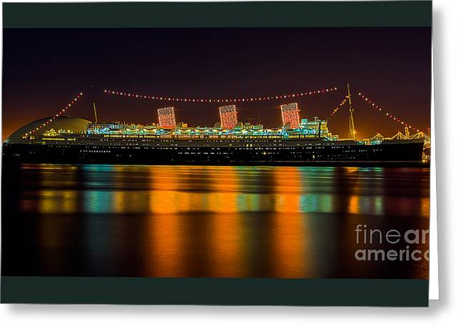 Queen Mary - Nightside Greeting Card by Jim Carrell
