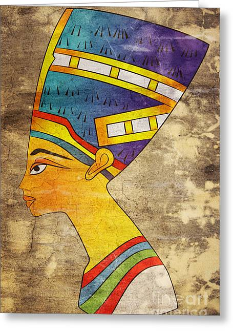 Pharaoh Mixed Media Greeting Cards - Queen of Ancient Egypt Greeting Card by Michal Boubin