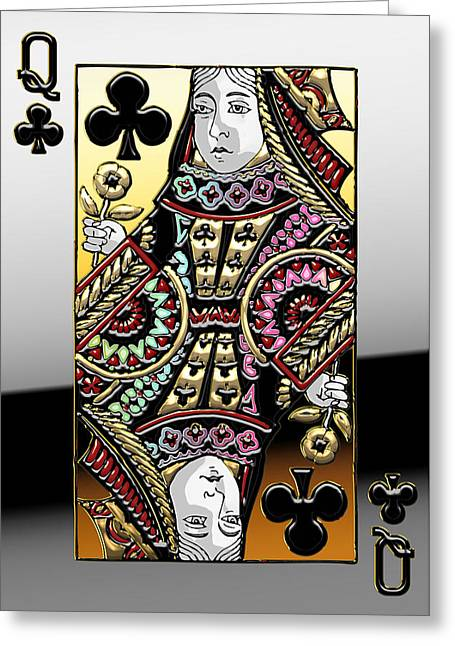 Playing Cards Greeting Cards - Queen of Clubs   Greeting Card by Serge Averbukh