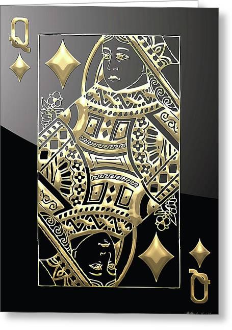Playing Cards Greeting Cards - Queen of Diamonds in Gold on Black  Greeting Card by Serge Averbukh