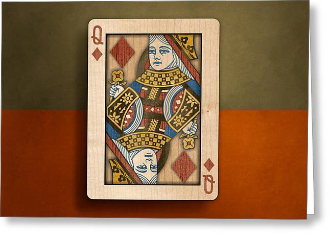 Queen Of Diamonds In Wood Greeting Card by YoPedro