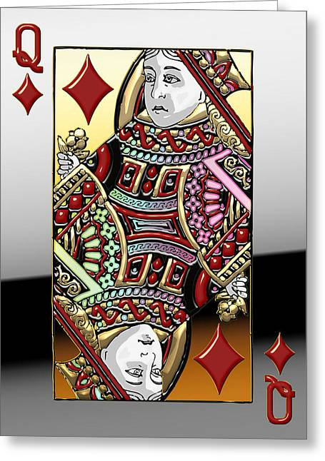 Playing Cards Greeting Cards - Queen of Diamonds   Greeting Card by Serge Averbukh