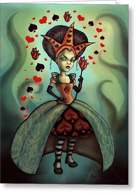 Creepy Digital Greeting Cards - Queen of Hearts Greeting Card by Diana Levin