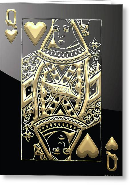 Playing Cards Greeting Cards - Queen of Hearts in Gold on Black Greeting Card by Serge Averbukh