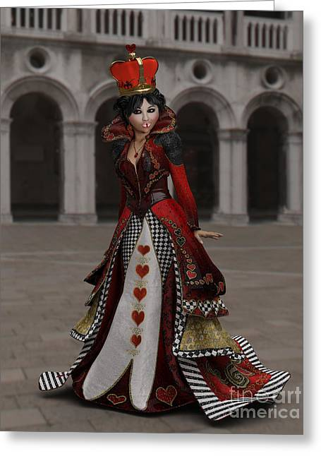 Character Portraits Greeting Cards - Queen Of Hearts Portrait Greeting Card by Methune Hively