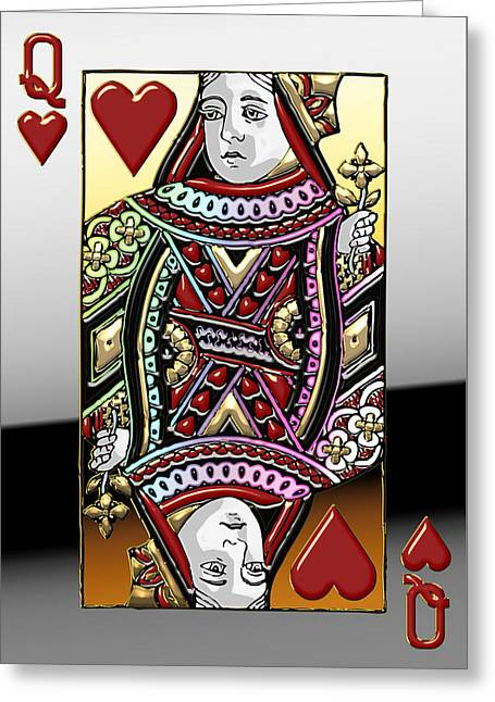 Playing Digital Greeting Cards - Queen of Hearts   Greeting Card by Serge Averbukh