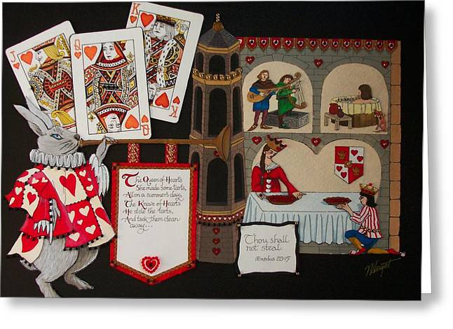 Nursery Rhyme Mixed Media Greeting Cards - Queen of Hearts Greeting Card by Victoria Heryet