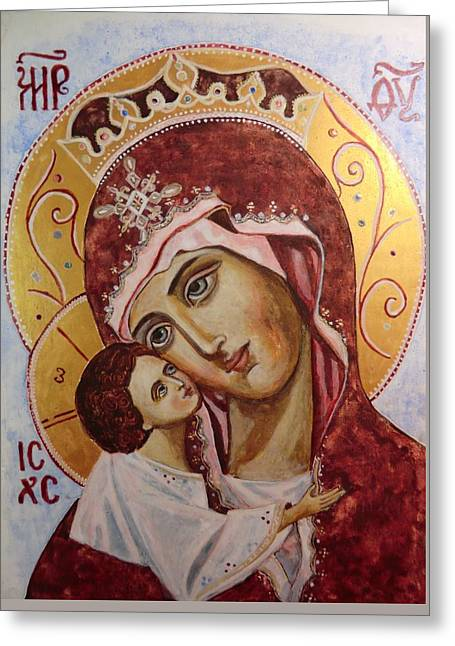 Icon Byzantine Greeting Cards - Queen of Heaven Greeting Card by Olga Dytyniak