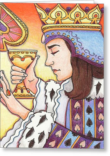 Yang Greeting Cards - Queen of Spades Greeting Card by Amy S Turner