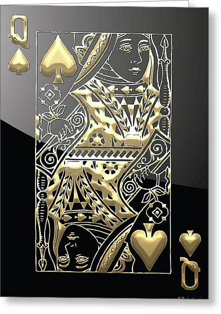 Playing Cards Greeting Cards - Queen of Spades in Gold on Black   Greeting Card by Serge Averbukh