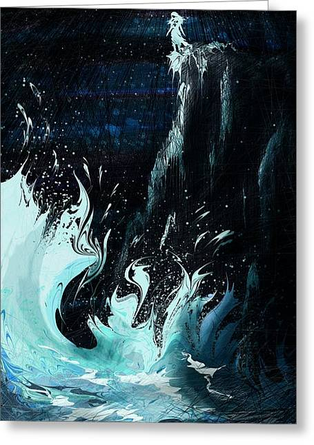 Female Fairy Abstract Greeting Cards - Queen of the Seas Greeting Card by Rachel Christine Nowicki
