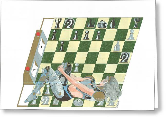 Strategy Drawings Greeting Cards - Queen Sacrifice Greeting Card by Patrick Smith