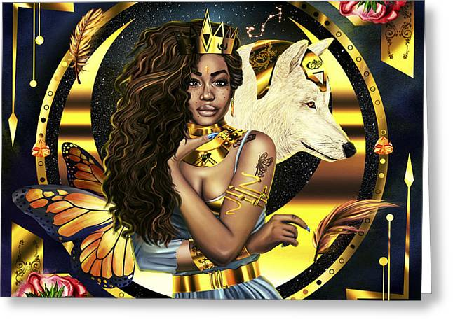 Queen Sza Illustration Greeting Card by Pierre Louis