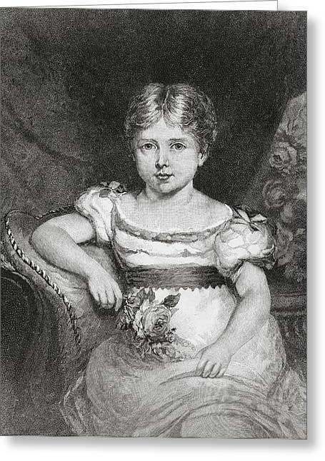British Royalty Greeting Cards - Queen Victoria, Aged 6, 1819 Greeting Card by Vintage Design Pics