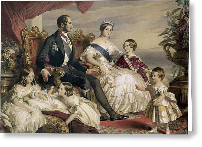 Group Portraits Greeting Cards - Queen Victoria and Prince Albert with Five of the Their Children Greeting Card by Franz Xavier