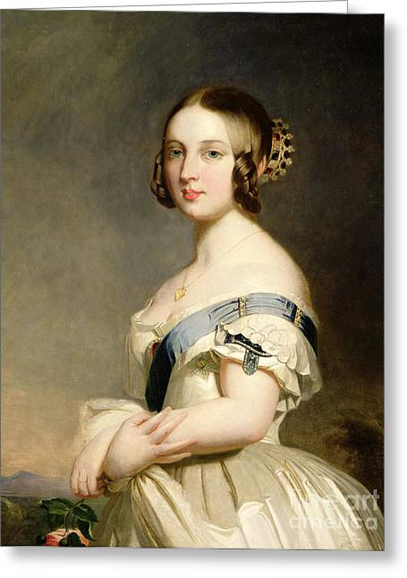 Winterhalter; Franz Xavier (1806-73) (studio Of) Greeting Cards - Queen Victoria Greeting Card by Franz Xavier Winterhalter