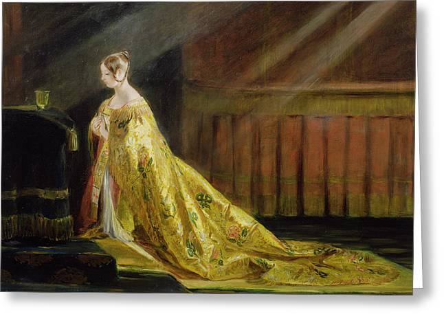 Sun Rays Paintings Greeting Cards - Queen Victoria in Her Coronation Robe Greeting Card by Charles Robert Leslie
