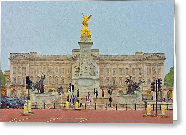 Buckingham Palace Digital Greeting Cards - Queen Victoria Memorial and Buckingham Palace Greeting Card by Digital Photographic Arts