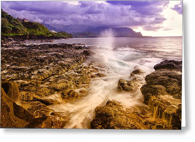 Recently Sold -  - North Sea Greeting Cards - Queens Bath Princeville Kauai 2015 Greeting Card by Lawrence Knutsson