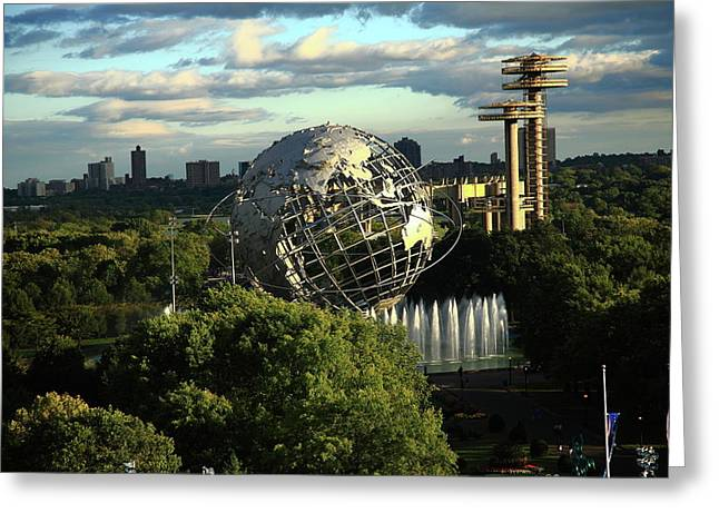 World Map Print Photographs Greeting Cards - Queens New York City - Unisphere Greeting Card by Frank Romeo