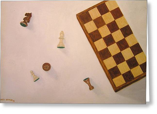 Chess Piece Paintings Greeting Cards - Queens Ransom Greeting Card by Nigel Wynter