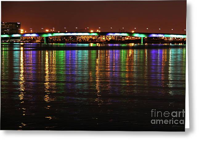 Sea Moon Full Moon Greeting Cards - Queens Way Bridge  Greeting Card by Mariola Bitner