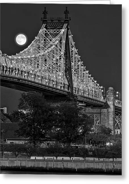 White Photographs Greeting Cards - Queensboro 59 Street Bridge Full Moon BW Greeting Card by Susan Candelario