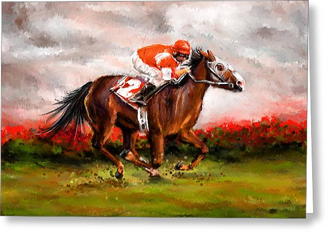Race Horse Greeting Cards - Quest For The Win - Horse Racing Art Greeting Card by Lourry Legarde