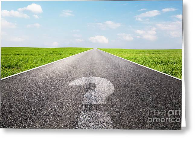 Street Race Greeting Cards - Question mark symbol on long empty straight road Greeting Card by Michal Bednarek