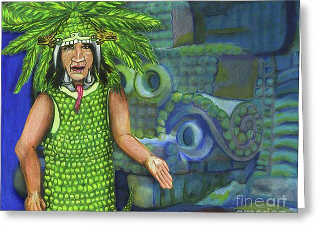 Snakes Pastels Greeting Cards - Quetzalcoatl House Greeting Card by Laura Brightwood