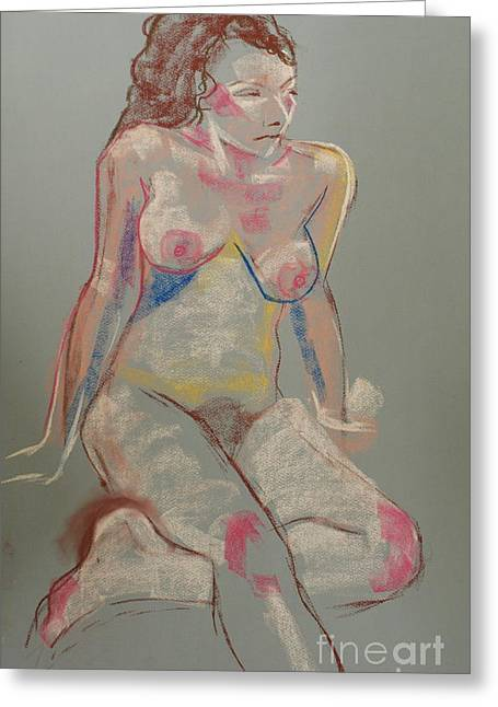Life Drawing Pastels Greeting Cards - Quick pastel nude Greeting Card by Joanne Claxton