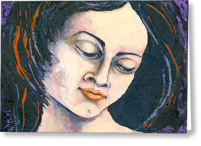 Canvas Panel Greeting Cards - Quiet Contemplation Greeting Card by Elisabeta Hermann
