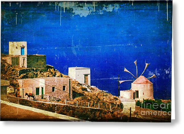 Dodecanese Greeting Cards - Quiet Day - Olympos - Karpathos Island - Greece Greeting Card by Silvia Ganora