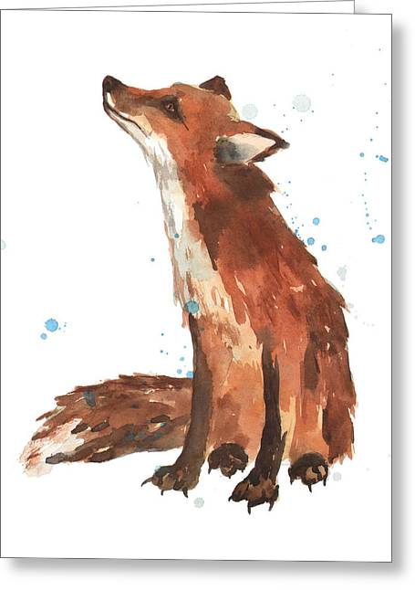 Creature Greeting Cards - Quiet Fox Greeting Card by Alison Fennell