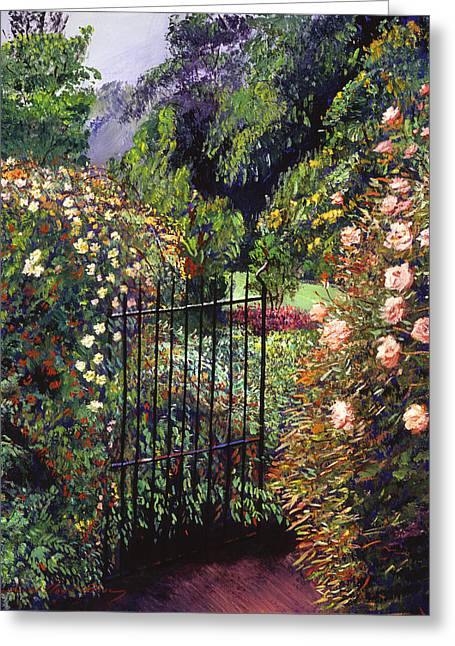 Iron Gate Greeting Cards - Quiet Garden Entrance Greeting Card by David Lloyd Glover