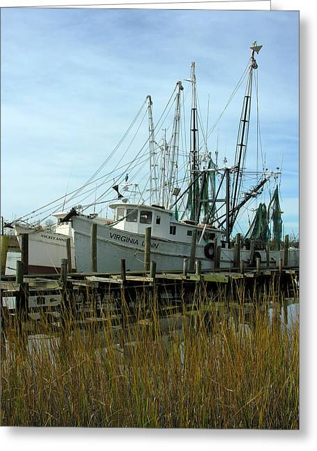 Boats At Dock Greeting Cards - Quiet Harbor Greeting Card by Thomas Lovelace