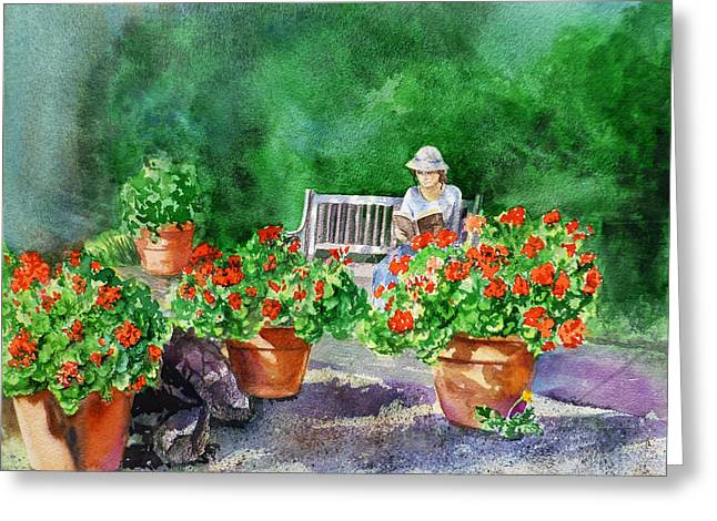Sunlight On Pots Paintings Greeting Cards - Quiet Moment Reading In The Garden Greeting Card by Irina Sztukowski
