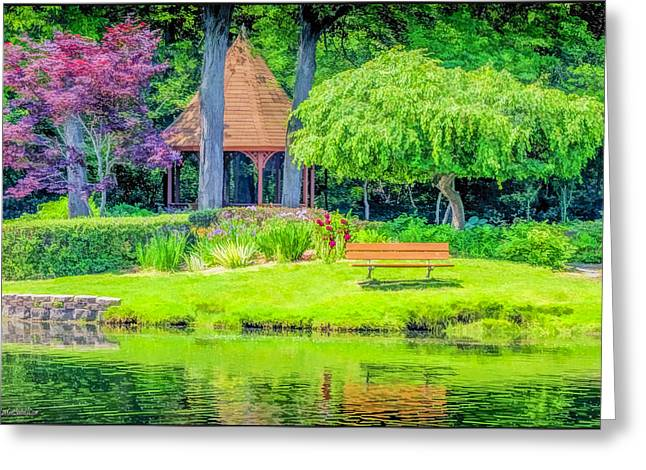 Willow Lake Greeting Cards - Quiet reflections Shelby Townships Heritage Garden Greeting Card by LeeAnn McLaneGoetz McLaneGoetzStudioLLCcom