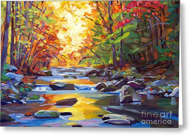 Brushstrokes Greeting Cards - Quiet Stream Greeting Card by David Lloyd Glover